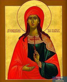 Sfanta Mare Mucenita Christina se tragea din Tirul Siriei, fiica unui oarecare Urban Stratilatul (pe la anul 200 d.Hr.). Tatal ei i-a construit un turn si a așezat-o în el. I-a făcut chiar și statui de idoli din aur și argint și i-a poruncit să jertfească acestora. Ea însă cunoscând că nu pot fi acestea ...