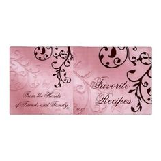 Pink and Brown Filigree Recipe 3 Ring Binders
