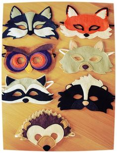 Máscaras de animais e m feltro