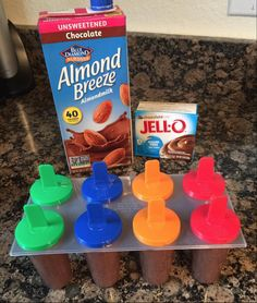 Low carb chocolate popsicles - 2 cups almond breeze per jello pack