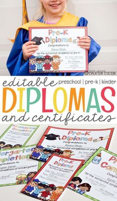 The summer is fast approaching which means the end of the school year is here. The end of the school year means it is time to find graduation diplomas and certificates for your preschool, pre-k, or kindergarten students. We love these editable diplomas and certificates and you will too! #diplomas #kindergarten #kindergartendiplomas #preschool #preschooldiplomas #endofschool #certificates