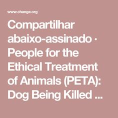 Compartilhar abaixo-assinado · People for the Ethical Treatment of Animals (PETA): Dog Being Killed Cruelly With a Wood Piece · Change.org