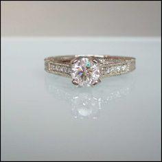Vintage inspired 14K White Gold ring