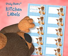 Cute Dinky Bears Barbecue Kitchen Labels - Digital Download by DinkyPrints