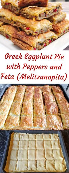 Greek Eggplant Pie with Peppers and Feta (Melitzanopita) - SocraticFood - cooking - Greek Recipes Cooked Vegetable Recipes, Vegetable Korma Recipe, Spiral Vegetable Recipes, Vegetable Dishes, Vegetarian Recipes, Cooking Recipes, Vegetable Samosa, Vegetable Spiralizer, Vegetable Casserole