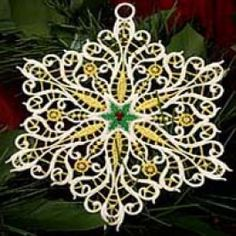 (FSL snowflake ornaments made for and larger hoops. They also have many sets for hoop) Snowflake Ornaments, Christmas Snowflakes, Christmas Ornaments, Princess Art, Little Princess, Stitch Delight, Machine Embroidery Designs, Embroidery Ideas, How To Make Ornaments