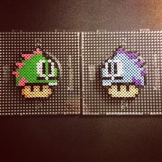 Nintendo mushrooms Bubble Bobble perler beads by sajagee