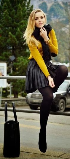 Black Scarf With Yellow Long Sleeve Sweater, Black Skirt And Black Leging