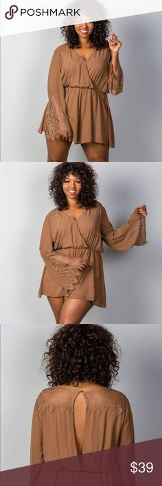 😍❤️ Lace shoulder plus size romper! Plus Size Romper, Big And Beautiful, Fashion Design, Fashion Tips, Fashion Trends, Pear Shaped, Pant Jumpsuit, Jumpsuits, Spa
