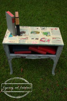Exceptional Decoupage Using Old Story Book Pages. YES! You Can Paint Fake Wood Furniture !