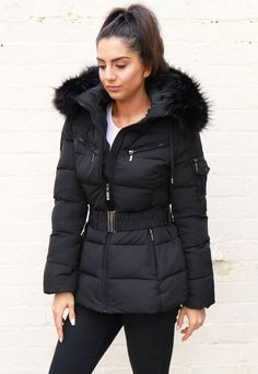 Quilted Longline Hooded Puffer Coat with Faux Fur Trim & Belt in Black – One Nation Clothing Quilted Jacket Outfit, Puffer Coat With Fur, Black Padded Jacket, Padded Shorts, Latest Fashion For Women, Womens Fashion, Playsuits, Fur Trim, Winter Jackets