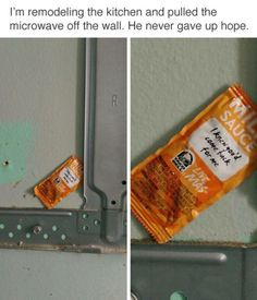 Funny Memes – [Remodeling the kitchen and pulled the microwave off the wall. He never gave up hope. Funny Shit, Funny Pins, Funny Stuff, Random Stuff, Random Humor, Awesome Stuff, Random Things, Really Funny, Funny Cute