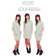 """Victory Patterns Lola Dress Sewing Pattern - Lola is a spin off of the classic crew neck sweater. This comfortable slip on dress features raglan sleeves, ribbed hem bands, front neckline """"V"""" detail, and oversized wrap around pockets . The curved seams give a relaxed, feminine fit.  This project is ideal for a serger and is easy to wear when you want to be cozy in style!  ::  $12.95"""