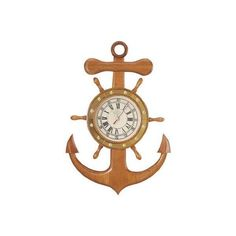 Anchor Ship Wheel Clock ($62) ❤ liked on Polyvore featuring home, home decor, clocks, anchor clock, anchor home decor and ship wheel clock