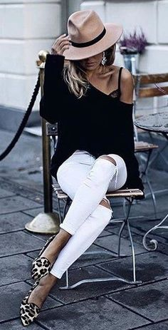 Black off the shoulder top, white jeans, leopard print shoes and cute taupe hat.