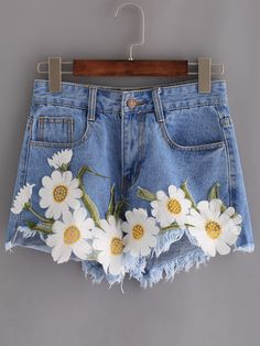 Shop Frayed Embroidered Flower Applique Blue Denim Shorts online. SheIn offers Frayed Embroidered Flower Applique Blue Denim Shorts…