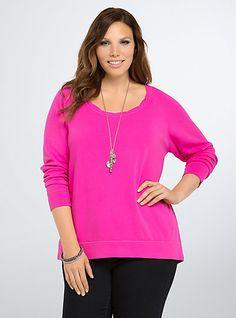 Crop SweatshirtCrop Sweatshirt, NEON FUCHSIA
