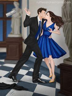 Ilustración de @RufflsNRstr8nts con Gabriel y Julianne en la Galeria Uffizi @sylvainreynard  #ElExtasisDeGabriel  #GabrielEmerson #JulianneMitchell
