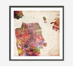 SAN FRANCISCO Map, Watercolor painting, Giclee Fine Art, Modern Abstract, Poster Print, Wall Art, Home Decor, Decoration