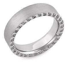 14K White Gold Brushed Diamond Wedding Band