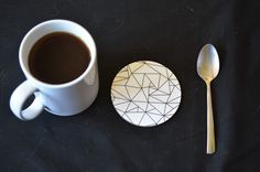 GEOMETRIC PATTERN, Coaster Set, Set of Four. Wedding Gift New Home Dining Decor