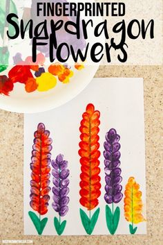 Spring Art for Kids – Fingerprinted Snapdragon Flowers | This is such a fun art project to do with your kids!