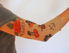 Pink Stripey Socks: DIY Fake Sleeve Tattoo