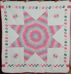 30's Star of Bethlehem Antique Quilt ~GREAT BORDER!
