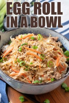 Egg Roll in a Bowl is a flavorful, quick, and easy low carb dinner idea that only takes minutes to make! A great twist on classic egg rolls! Best Side Dishes, Side Dish Recipes, Asian Recipes, Healthy Recipes, Ethnic Recipes, Yummy Recipes, Main Dishes, Amazing Recipes, Yum Yum Sauce