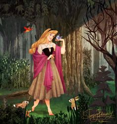 Princess Aurora with the forest animals! Sleeping Beauty Art, Sleeping Beauty Maleficent, Walt Disney, Disney And Dreamworks, Disney Pixar, Disney Characters, Disney Princesses, Disney Fan Art, Disney Love