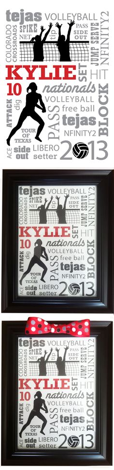 """Individual end of the year gifts for my daughter's volleyball team. 5"""" x 7"""" collage created in InDesign, put in dollar store frame, added bow for a finishing touch. Thankfully hubby is talented designer, but this is mainly type treatment with added illustrations and could be done fairly easily and could be adapted for any sport."""