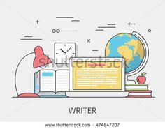 Linear Flat copywriting writer service website hero image vector illustration…