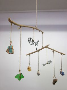 Good idea to create a found object mobile...esp if objects are meaningful in some way Mobile Fish and Found Object