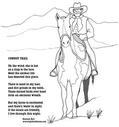 Cowboy coloring page and poem. Yeehaw!