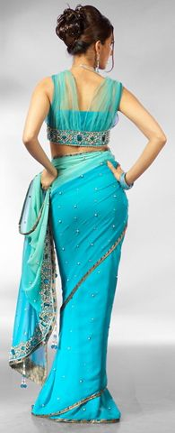 Peacock Blue Sari – Love the blouse! It's so unique! #sari #indianfashion
