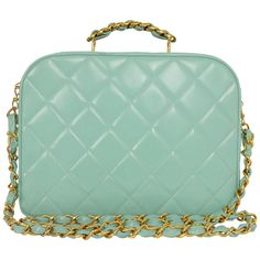 a117968ce8db Chanel Vintage Teal Quilted Patent Vanity Crossbody Bag GHW
