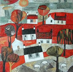 SOLD: 'Bright Red Day' Colorful Art, Art Painting, Naive Art, Abstract Wall Art, Art, Primitive Painting, Painting Crafts, Whimsical Paintings, Small Art