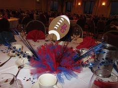 banquet centerpiece--love this idea but using a cheerleader instead of football-school colors Football Centerpieces, Banquet Centerpieces, Banquet Decorations, Wedding Centerpieces, Banquet Ideas, Banquet Tables, Centerpiece Ideas, Cheer Banquet, Football Banquet