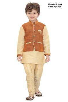 Party wear premium quality Traditional Design Sherwani suit. The dress features a gold silk Kurtha with Gold Pajama and a mustard color jute coat. This Ethnic wear is soft and comfortable for kids.