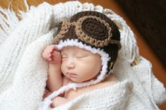 Crochet Dark Brown Aviator Hat Newborn by AmiAmigos on Etsy, $19.00