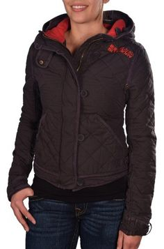 Superdry Women's Mini Quilted Hooded Jacket-Faded Black >>> For more information, visit image link.