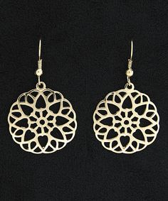Look at this Gold Etched Cutout Drop Earrings on #zulily today!