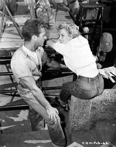 Marilyn and Keith andes on the set of ''Clash By Night'', 1952.