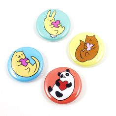 Heartimals Button Set by sugarcookie on Etsy