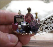 1:12 Miniature Dollhouse ARTISAN Vanity Tray PURPLE hp antique perfume labels