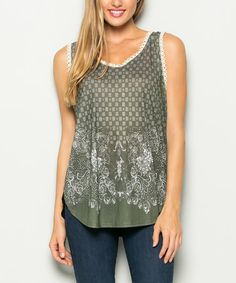 Look what I found on #zulily! Olive Green Tied Keyhole-Back Tank #zulilyfinds