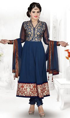 Royal Blue Georgette Long Anarkali Suit Price: Usa Dollar $162, British UK Pound £95, Euro119, Canada CA$175 , Indian Rs8748.