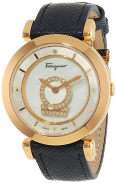 Women's Wrist Watches - Salvatore Ferragamo Womens Minuetto DiamondAccented Gold IonPlated Watch with Blue Leather Band -- Check this awesome product by going to the link at the image.