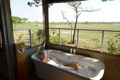 Private bath overlooking a waterhole in Hwange, wow. Elephant Eye, Zimbabwe, Countries Of The World, National Parks, Relax, Bath, Eyes, Travel, World Countries