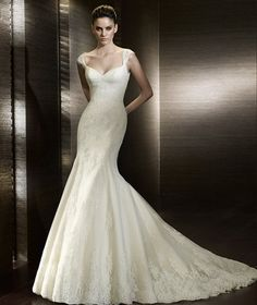 Mermaid Wedding Dresses with cap sleeves and lace!